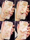 Luxury Bling Diamond Crystal Crown Flower Ring Holder Kickstand Clear Case Cover