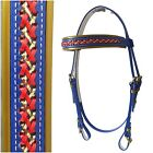PVC Bridle - Mac Tack - Blue/Gold/Red