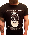 With Great Beard Comes Great Responsibility Men's Black T-Shirt