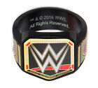 WWE Championship Belt Logo Men's Stainless Steel Black PVD Plated Ring NEW
