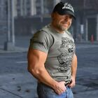 Men's Muscle-Cut Fitted Gym/ Street Tee (IRON BROTHERHOOD) - Army Green