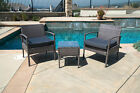 3pc Rattan Wicker Bistro Sofa Set Coffee Table Chair Outdoor Patio Furniture NEW