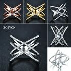 ZOEVON Fashion Women Double Cross Ring X Shape Ring Gold/Silver Plated Jewelry