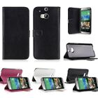 Folding Leather Cover Protective Back Case Skin Stand Card Slot For HTC One M8