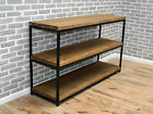 Display unit console stand industrial raw steel reclaimed wood 3 shelf