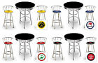 FC725 VINTAGE GAS GARAGE AUTO SHOP THEMED ROUND BAR TABLE & CHROME STOOLS SET