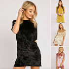 Plus Size 3XL Women's Ladies Long Sleeve Velvet Casual Party Bodycon Mini Dress