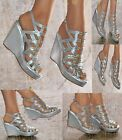 WOMENS SILVER DIAMANTE WEDGE HEEL PLATFORM STRAPPY PEEP TOE EVENING PARTY SHOES