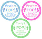 Personalised 'Ready to POP!' Baby Shower Party x 12 Stickers Green/Blue/Pink