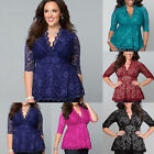 Women Fashion Floral Lace Blouses Tops V-Neck 3/4 Sleeve Shirt T-shirt Plus Size