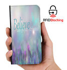 RFID Protected Believe Dreams PU Leather Phone Wallet Case Cover Samsung Galaxy