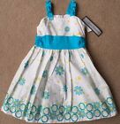 NWT girls size 5, 6 & 6x Jayne Copeland White Aqua Flower Sleeveless Dress CUTE!