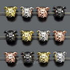 Solid Metal Bull Dog Zircon Fitness For Bracelet Connector Charm Beads 8x12mm