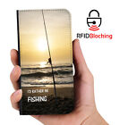 Genuine MYBFF Rather Be Fishing PU Leather Wallet Custom Case for Apple iPhone