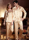 2017 New Golden Silk Blend 2PCs Woman/Man's Sleepwear/Pajama Sets M/L/XL/2XL/3XL