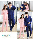 Blend Cotton Lovers 2PCs Royal Blue/ Pink Long Sleeves Pajama Sets Pocket Collar