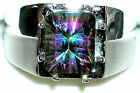 Men's Large Concave Mystic Topaz Sterling Silver 925 Ring  ~~Exclusive Style~~