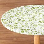 NEW ~ FITTED Floral Flowers Round Oval Vinyl Table Cover Cloth Flannel Backed