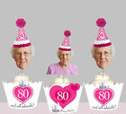 50th 60th 70th 80th birthday EDIBLE wafer 15 Cupcake Cake Toppers Milestone Cup