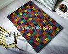 Funky Campari Multi Colour Squares 100% Wool Soft Rug in various sizes