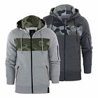Mens Hoodie Crosshatch Camden Zip Up Sweater With Camo Panel