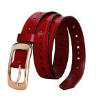 Top quality Leisure Womens Ladies Belt Genuine Leather Hollow pattern Pin Buckle