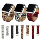 Bling Glitter Leather Loop Steel Lock Band Strap for iWatch Series 3 2 1 38/42mm
