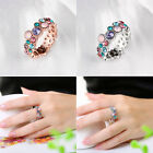 Women Fashion Topaz Gems Cubic Rose Gold Filled Round Cut Silver Ring Size 6-8