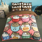 Cute Cup Cats Single Queen King Size Quilt/Duvet/Doona Cover Set Sheet Fitted