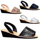 Womens Ladies Glitter Slingback Wedge Menorcan Open Toe Spanish Sandals Shoes