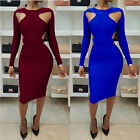 Women's Bandage Bodycon Long Sleeve Evening Party Cocktail Short Mini Dress
