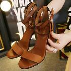 New Womens Mid  Heels Roman Sandals Ankle Strap Buckle Block Open Toe Shoes Size