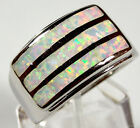 White Fire Opal Inlay Genuine 925 Sterling Silver Band Ring Size 7-8