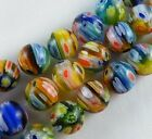 50pcs  Millefiori Glass Round Loose Beads Spacers 12colors-1 8mm
