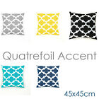 White Quatrefoil Accent Pattern Cotton Canvas Decor Cushion Cover Pillowcase