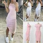 Plus Ladies Elegant Bodycon Stretch Short Sleeve Dress Womens PLUS SIZE Long Top