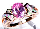 Rose Gold Plated Pink Topaz & Fire Opal 925 Sterling Silver Ring Sz 6,8,9