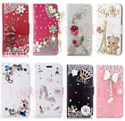 Girl's Luxury Bling Diamonds Crystal Leather Flip Wallet Cards Phone Case Cover
