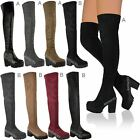 LADIES WOMENS THIGH HIGH OVER THE KNEE PLATFORM CHUNKY HEEL STRETCH BOOTS SIZE