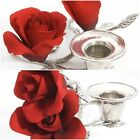 Napoleon Capodimonte Roses on Pewter Candle holder Made Italy