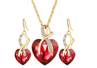 Crystal Heart Pendant 18K White Gold Plated Necklace Earrings Jewelry Women Set