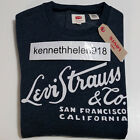NWT LEVIS MENS LONG SLEEVE GRAPHIC CREW SWEATSHIRT NAVY SIZE MEDIUM
