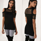 Women's Short Sleeve Off Shoulder Shirt Casual Loose Tops Hollow Out Blouse Tee
