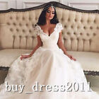 Sexy VNeck Lace Bridal Gown Vintage Applique Long A-line Wedidng Dress Plus6-30