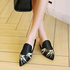 Embroidery Women Lady Flat Heel Sandals Slippers Shoes Pull On Pointy Toe Shoes