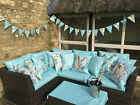 Hare 100% WATERPROOF OUTDOOR PVC COATED GARDEN BENCH SEAT CUSHIONS, BUNTING
