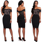 NEW Casual Slash Neck Black Lace Bodycon Women Dresses New Hollow Out Summer Hot