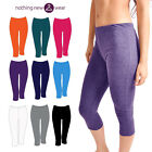 Ladies Sports 3/4 Length Cropped Pants Gym Running Yoga Fitness Leggings Bottoms