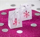 White Snowflake Sparkle Gift Bag, Unusual Winter wedding table favour Pk 4.