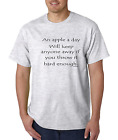 Bayside Made USA T-shirt An Apple A Day Will Keep ANYONE Away Throw Hard